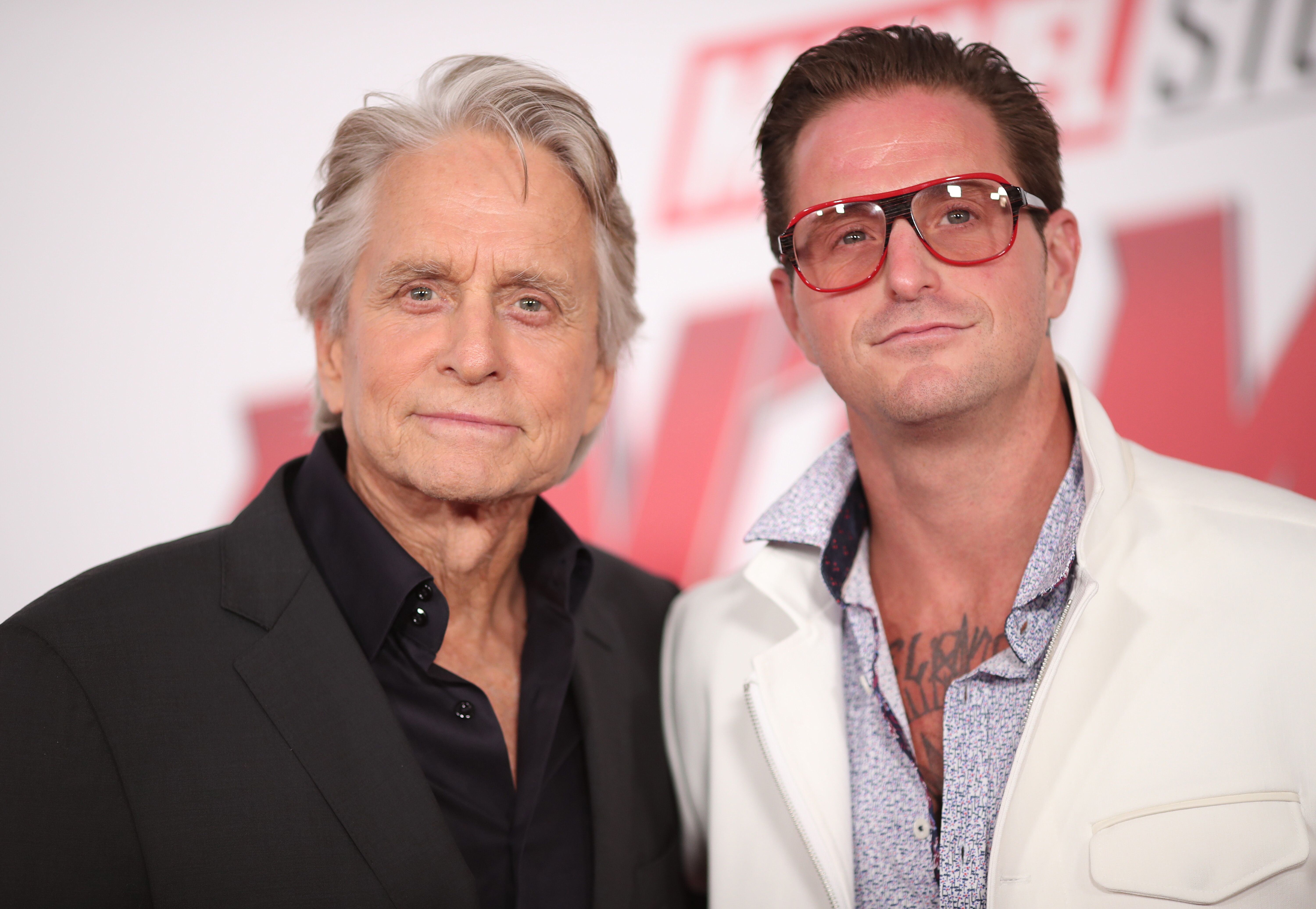 """Michael and Cameron Douglas at the premiere of Disney And Marvel's """"Ant-Man And The Wasp."""" 