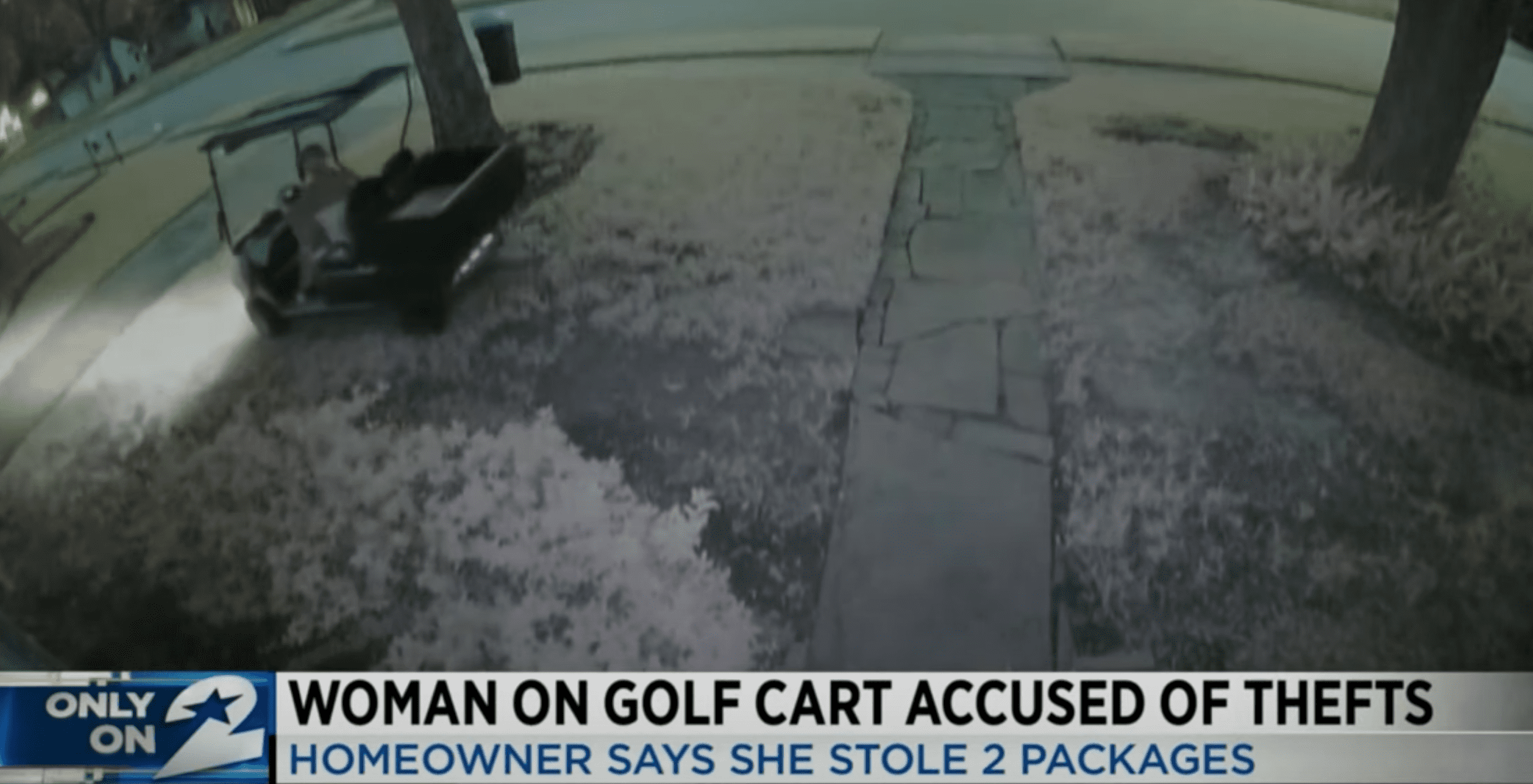 The alleged porch pirate is seen as she takes off with the packages in her golf cart | Photo: Youtube/KPRC 2 Click2Houston
