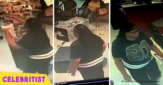 Furious woman caught trashing nail bar because she was unhappy with her manicure