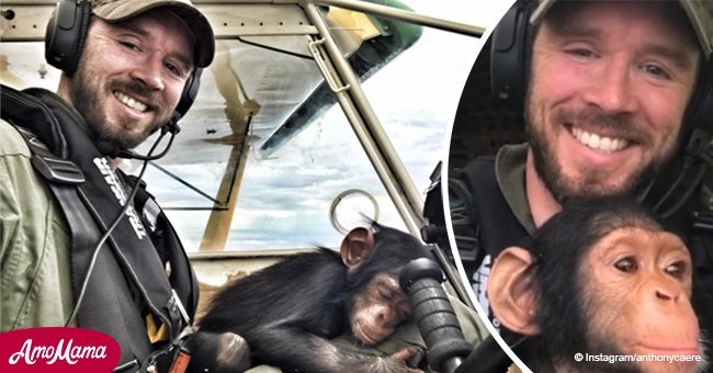 See the moment a rescued chimp bonds with the pilot who flew him to safety