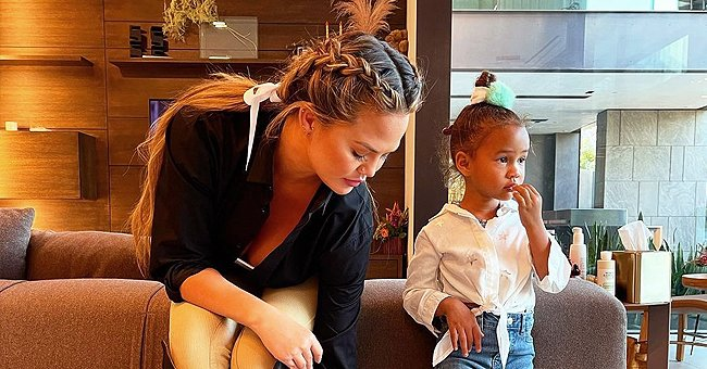 Chrissy Teigen's Daughter Luna Poses in Her 1st Pair of Jeans — See Fan Reactions to Her Oufit