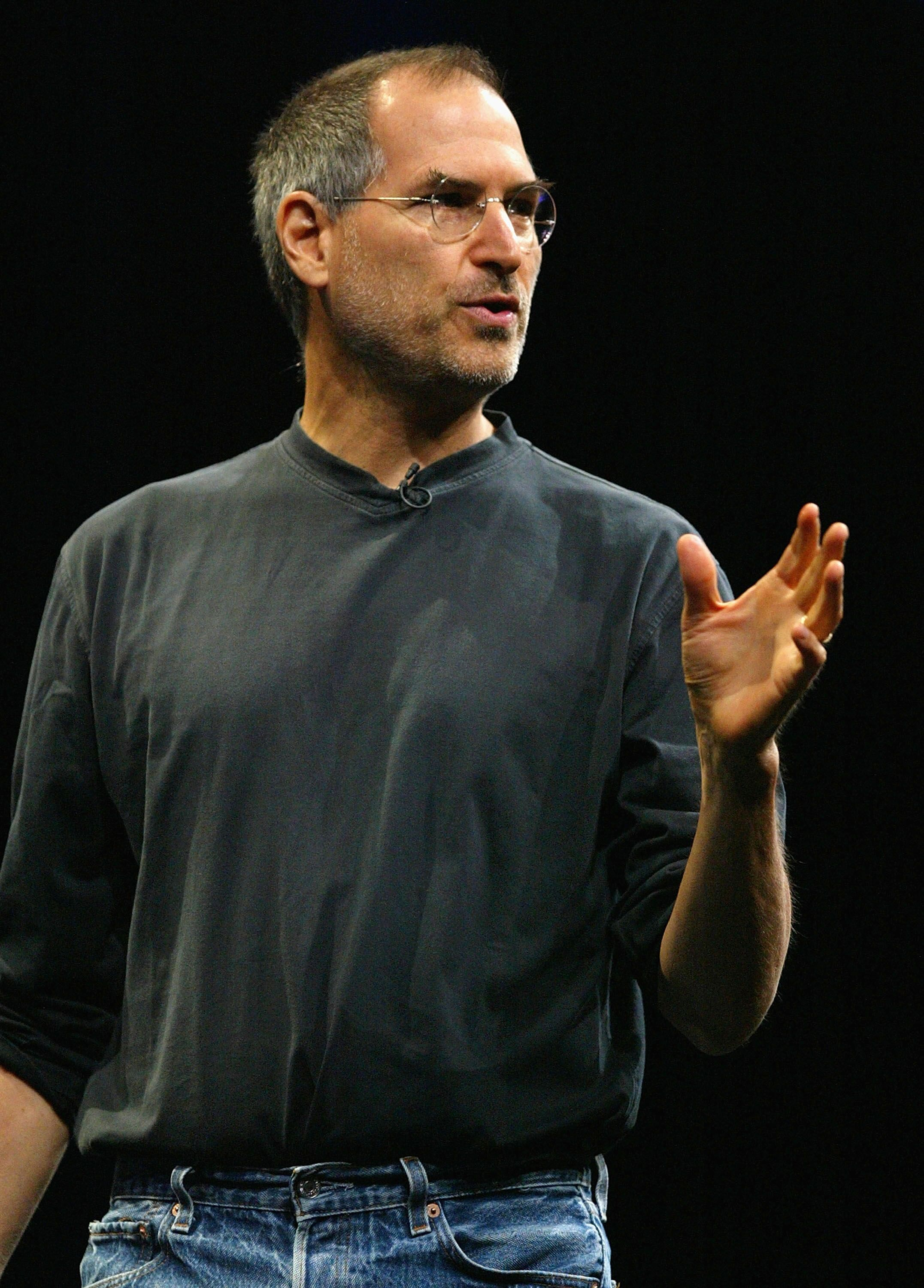 Steve Jobs delivers the keynote address at the 2004 Worldwide Developers Conference. | Source: Getty Images