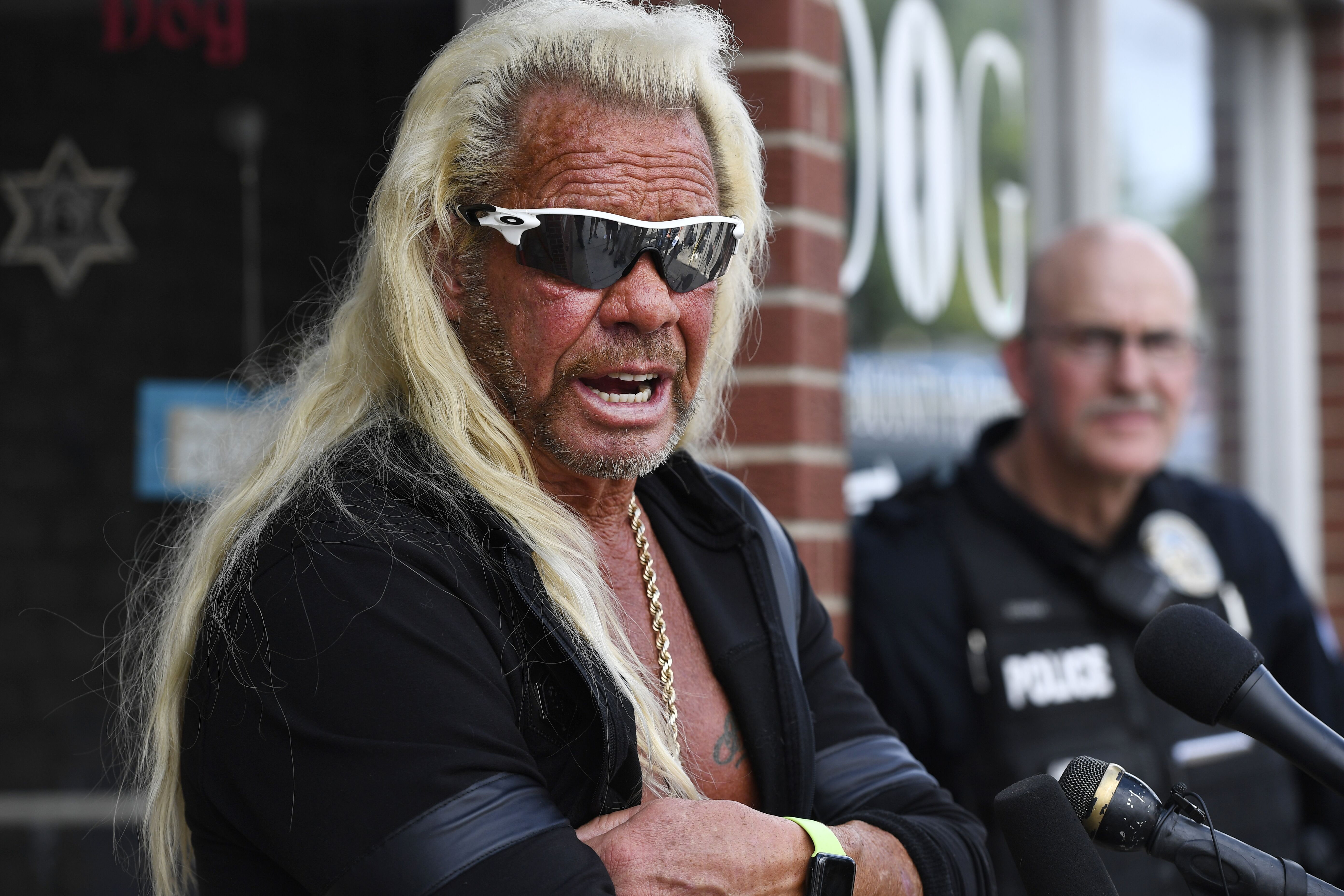 """Duane """"Dog The Bounty Hunter"""" Chapman during a press conference in front of his store August 02, 2019 