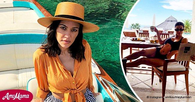 Kourtney Kardashian almost spills the tea on racy bikini, flaunting her abs on vacation with ex