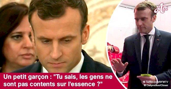 Embarrassé, Emmanuel Macron a dû répondre à un enfant au sujet de l'augmentation du prix du carburant