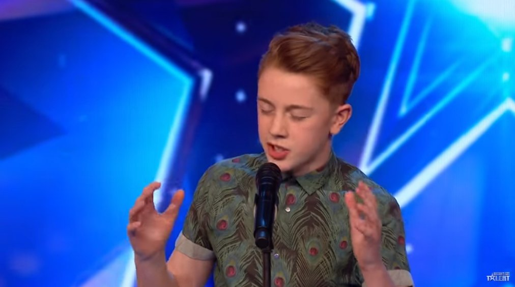 """Kerr James singing on """"Britain's Got Talent"""" in May 2019 