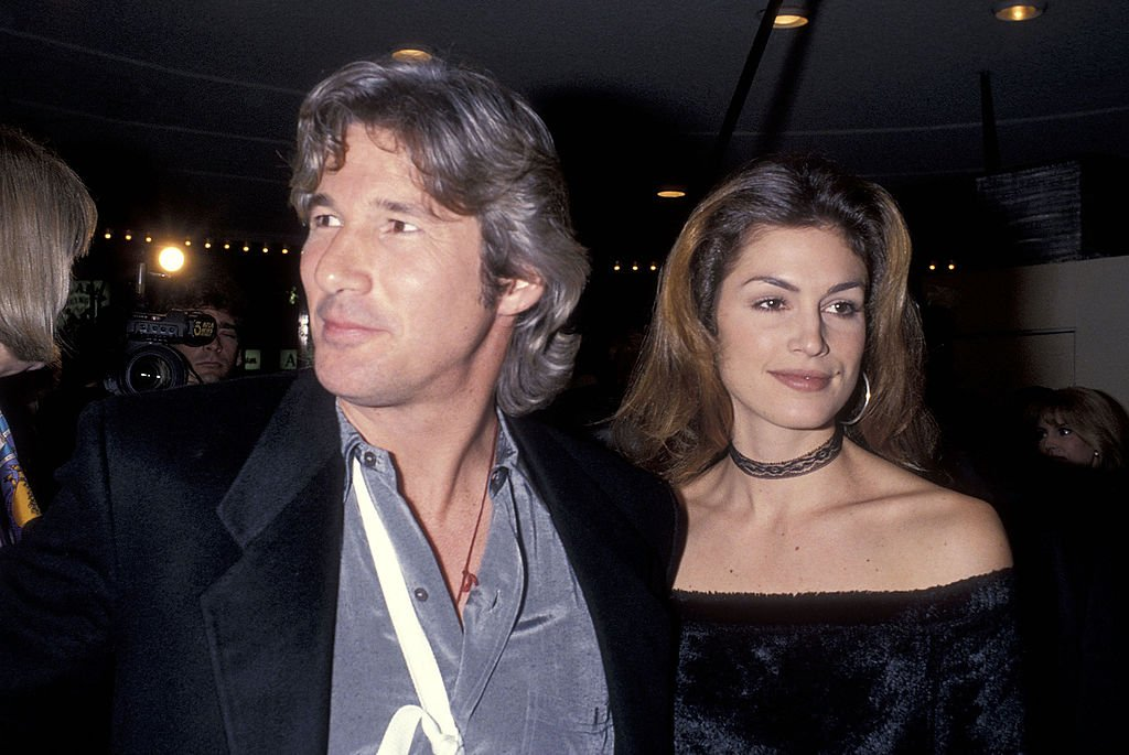 """Richard Gere and model Cindy Crawford attend the """"Sommersby"""" Westwood Premiere on January 2, 1993, in Westwood, California. 