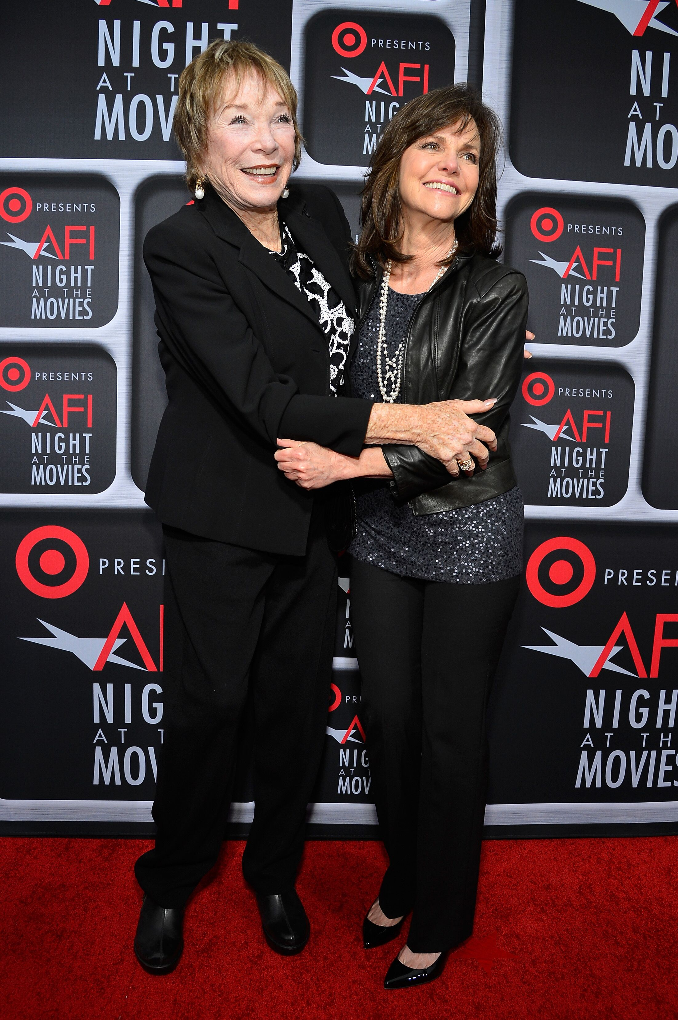 Shirley MacLaine and Sally Field arrive on the red carpet for Target Presents AFI's Night at the Movies at ArcLight Cinemas. | Source: Getty Images