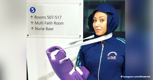 Mel B shares picture of her arm in purple sling after 3-hour surgery to save her hand