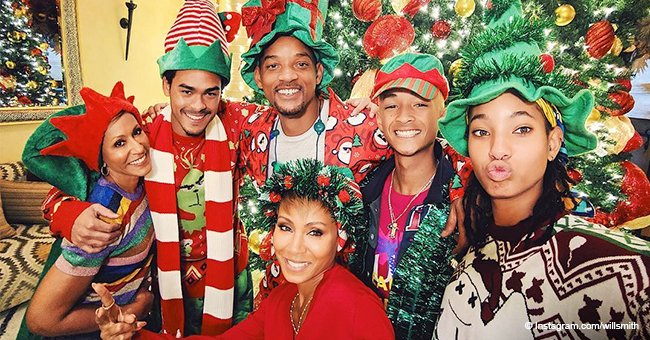 Jada & Will Smith get into the Christmas spirit in pic with all of their kids & her mom Adrienne