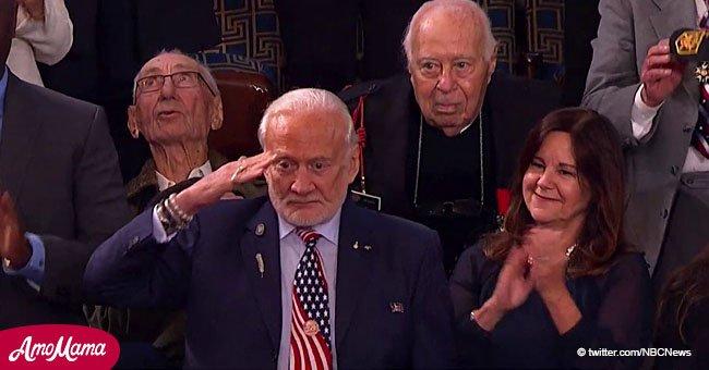 Legendary astronaut Buzz Aldrin salutes as Pres. Trump recognizes him during his speech