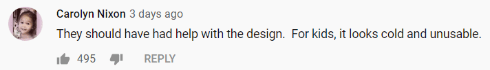 A comment on Architectural Digest's YouTube Channel about the Playhouse | Source: Youtube.com/Architectural Digest