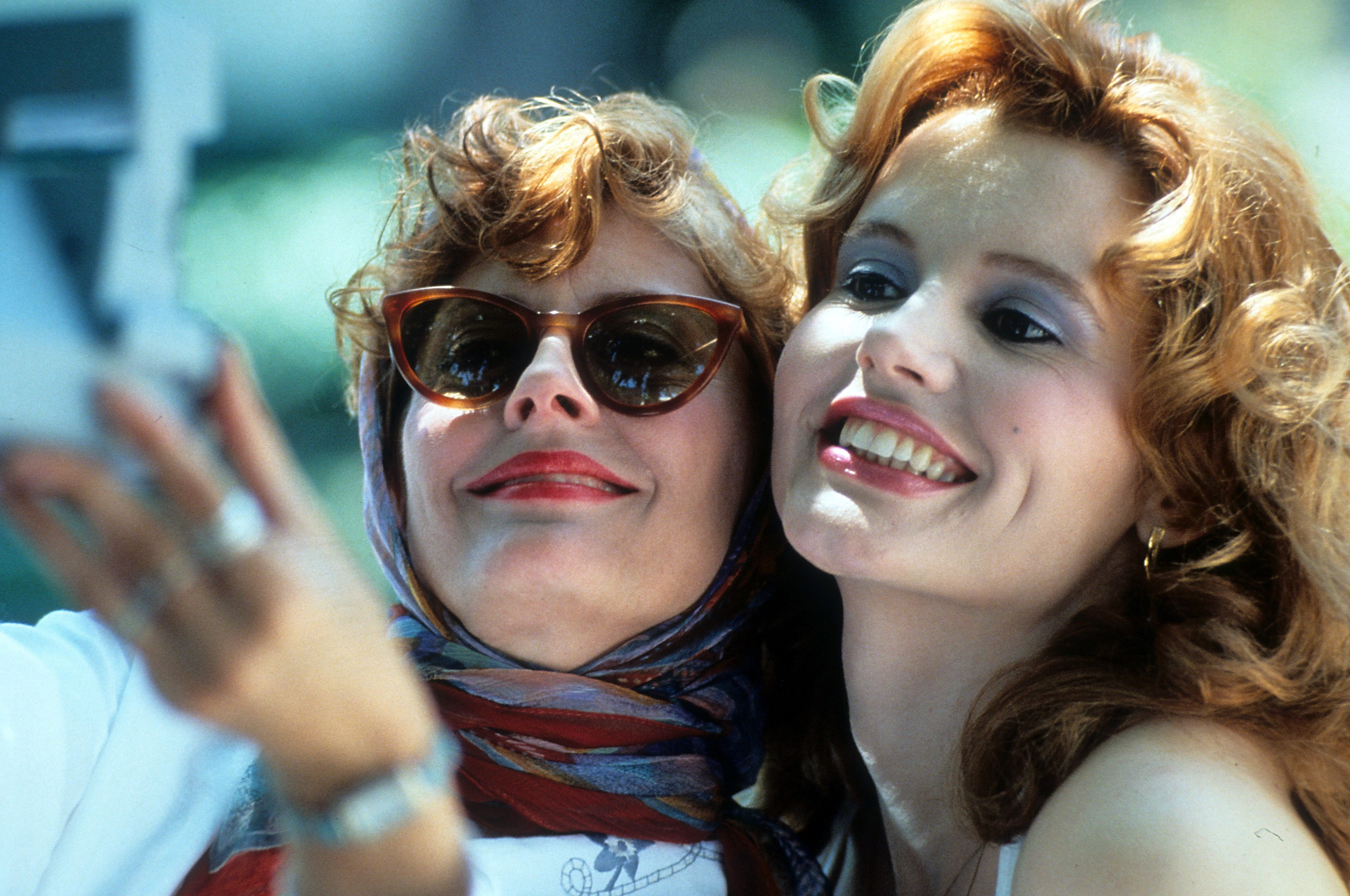 """Susan Sarandon and Geena Davis in a scene from the film """"Thelma & Louise,"""" 1991 