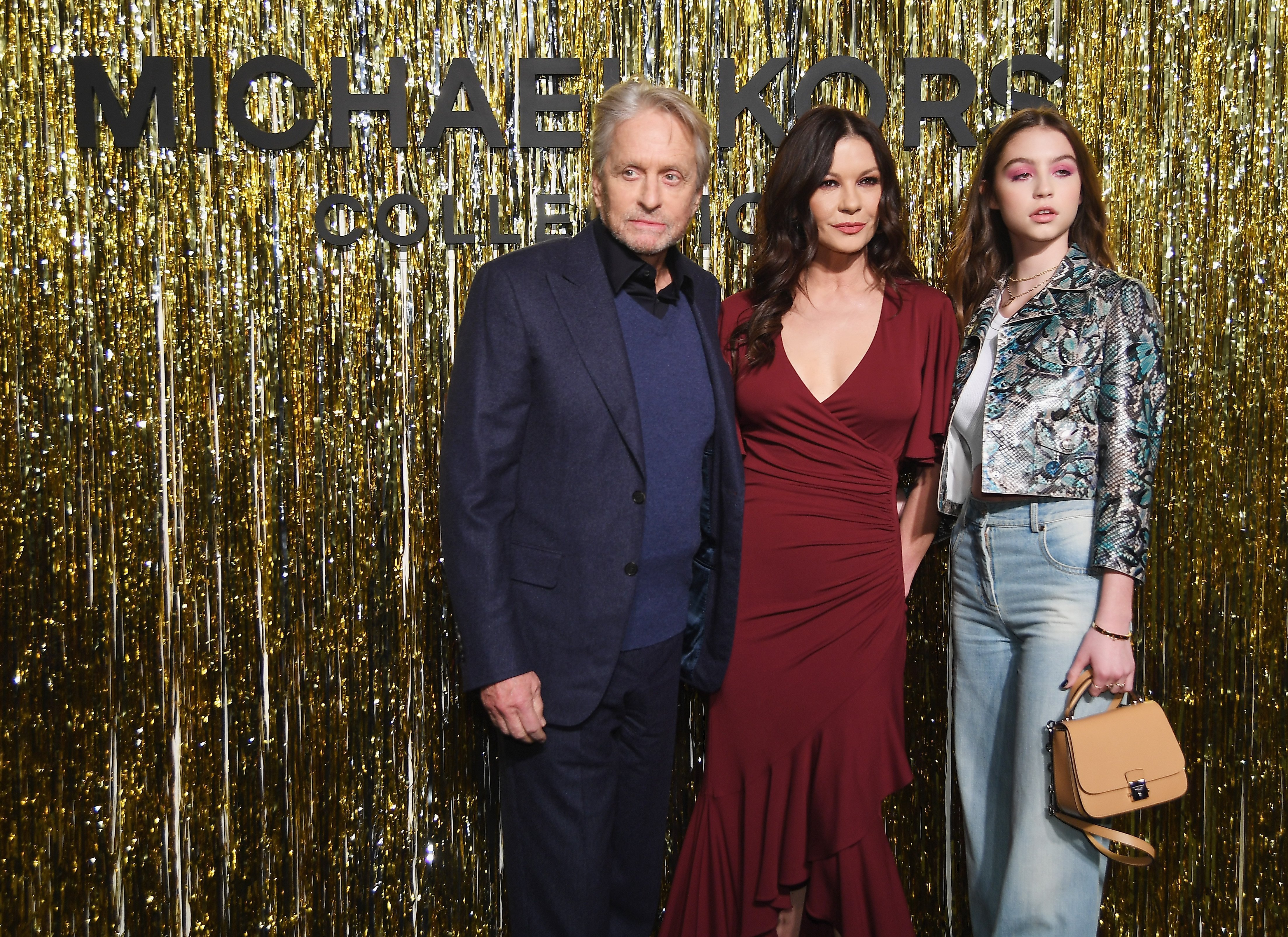 Catherine Zeta-Jones, Michael Douglas, & Carys Jones at the New York Fashion Week on February 13, 2019 | Photo: Getty Images