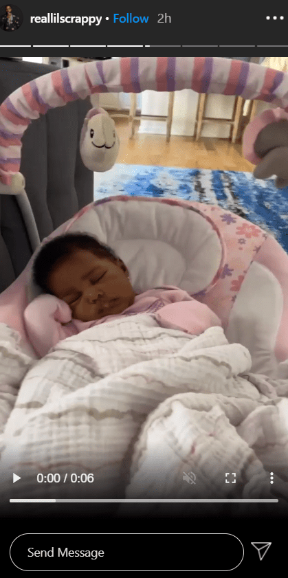 """""""Love and Hip Hop: Atlanta"""" stars, Lil Scrappy and Bambi Benson's daughter, Xylo, sleeping in her bed. 