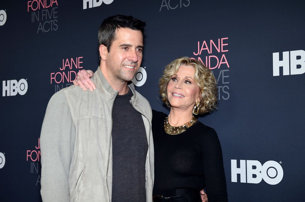 """Jane Fonda (R), and her son Troy Garity attend the premiere of HBO documentary film """"Jane Fonda In Five Acts """" at Hammer Museum 