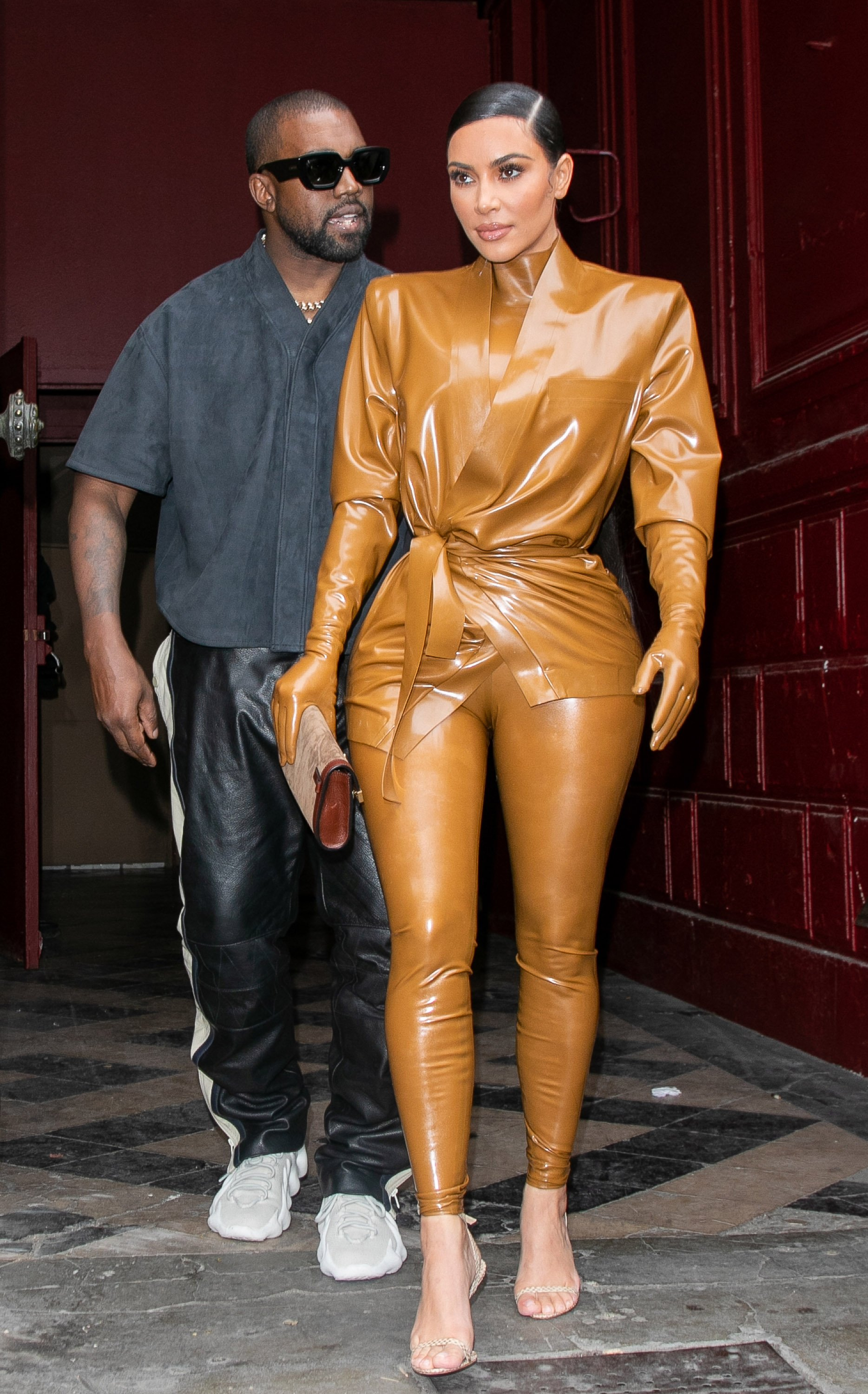 Kim Kardashian and Kanye West at Theatre Des Bouffes Du Nord during Paris Fashion Week on March 01, 2020 in Paris, France. | Source: Getty Images