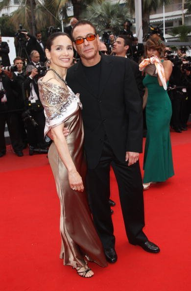 "Jean Claude Van Damme and Gladys Portugues attend the ""You Will Meet A Tall Dark Stranger"" Premiere at the Palais des Festivals during the 63rd Annual Cannes Film Festival on May 15, 2010, in Cannes, France. 