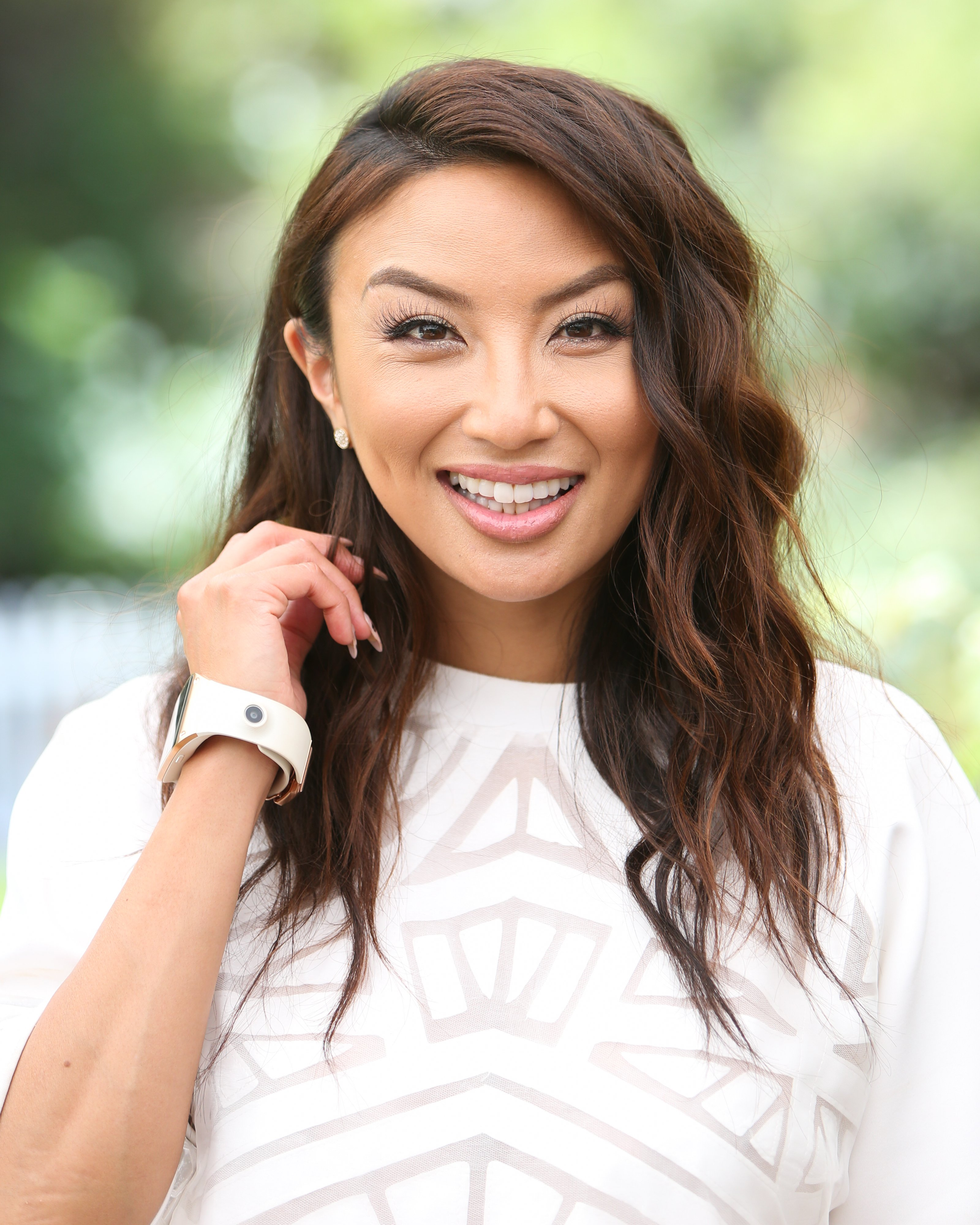 "Jeannie Mai visiting Hallmark's ""Home & Family"" in June 2019. 