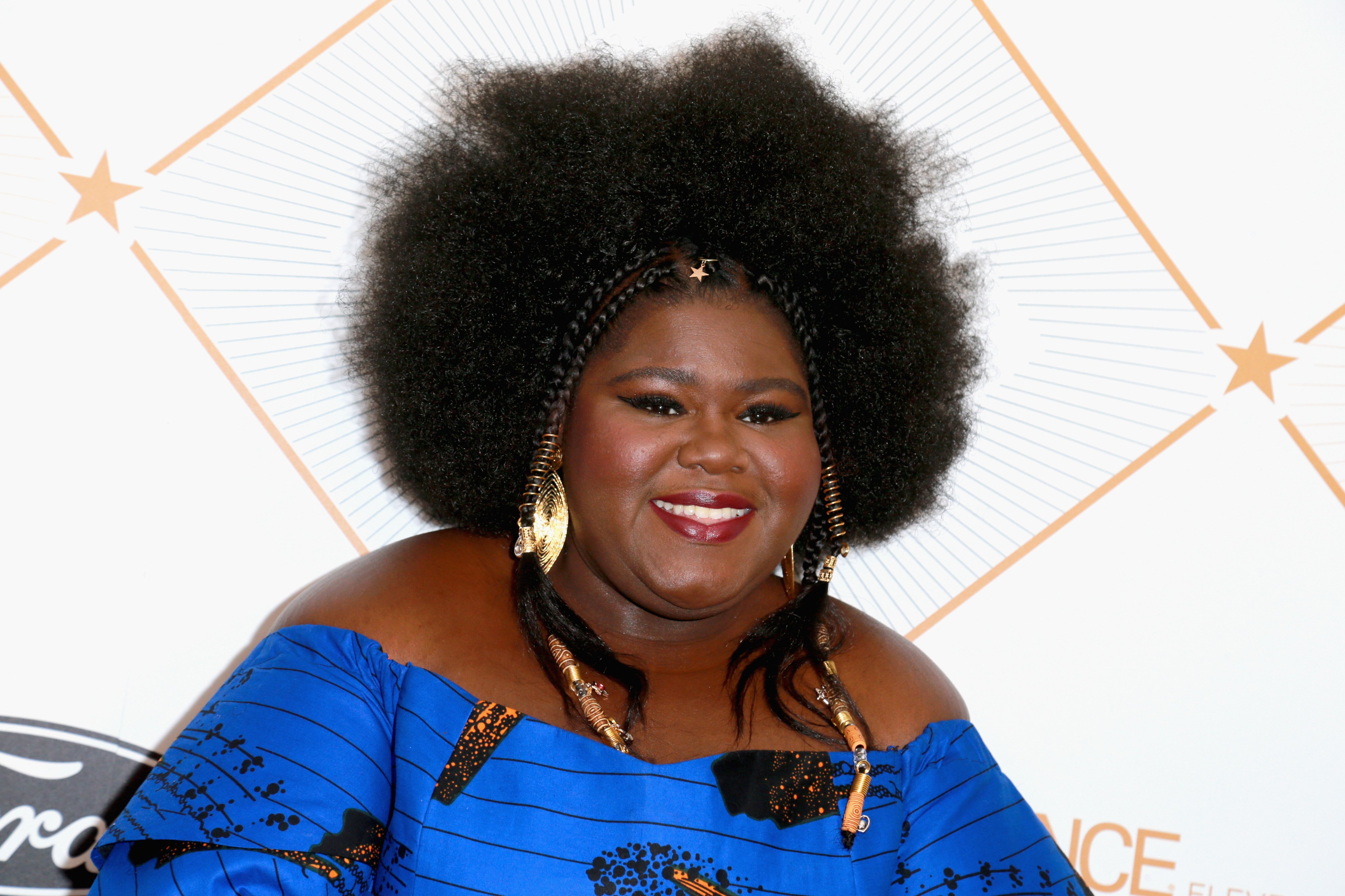 Gabourey Sidibe poses at the 2018 Essence Black Women In Hollywood Oscars Luncheon on March 1, 2018 in Beverly Hills, California. | Source: Getty Images
