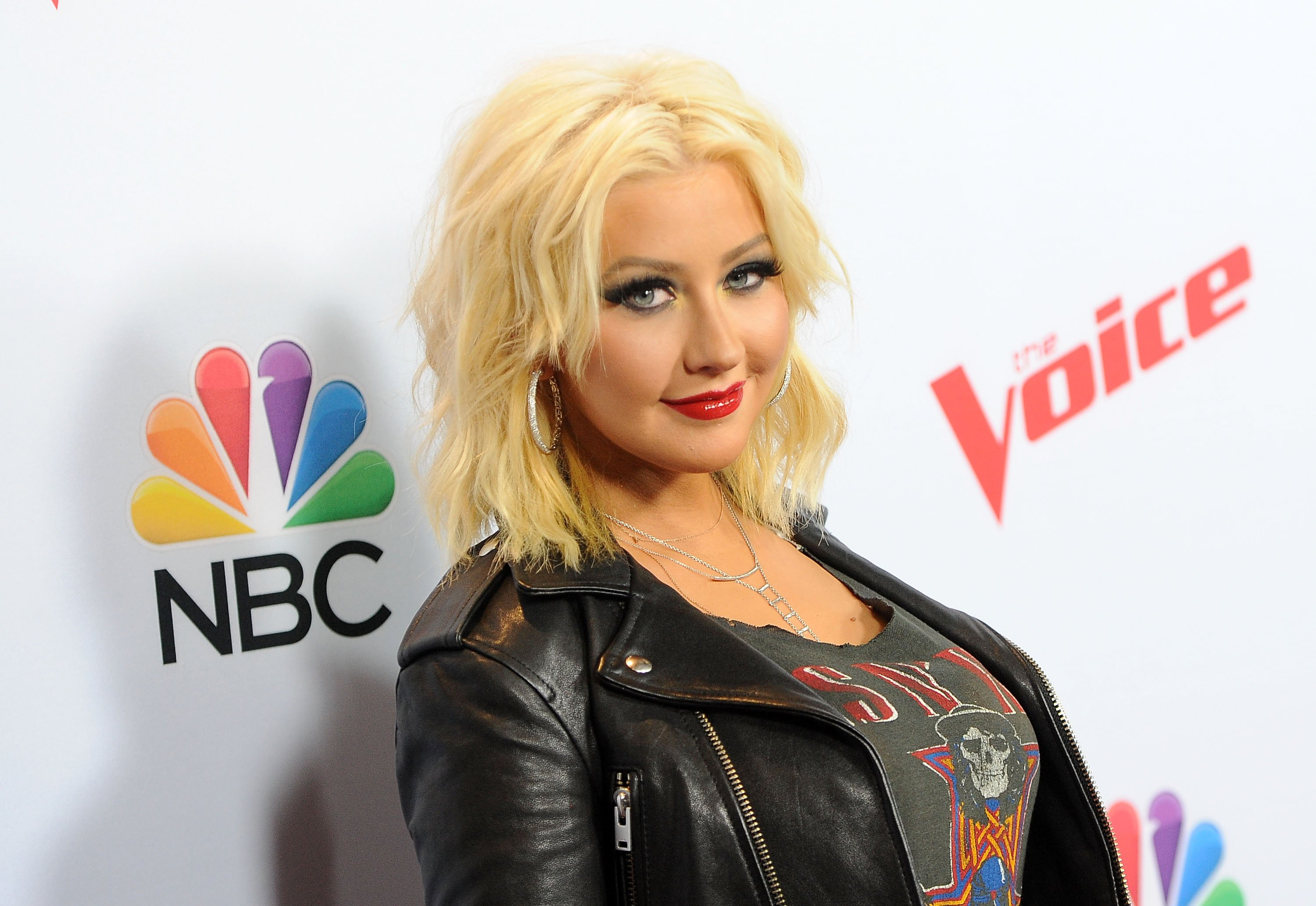 """Christina Aguilera arrives at NBC's """"The Voice"""" Season 8 red carpet event at Pacific Design Center on April 23, 2015 
