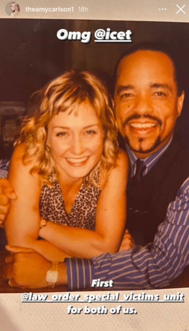 Amy Carlson's throwback post with former castmate Ice-T on Instagram Story in July 2021   Photo: Instagram Story/theamycarlson1