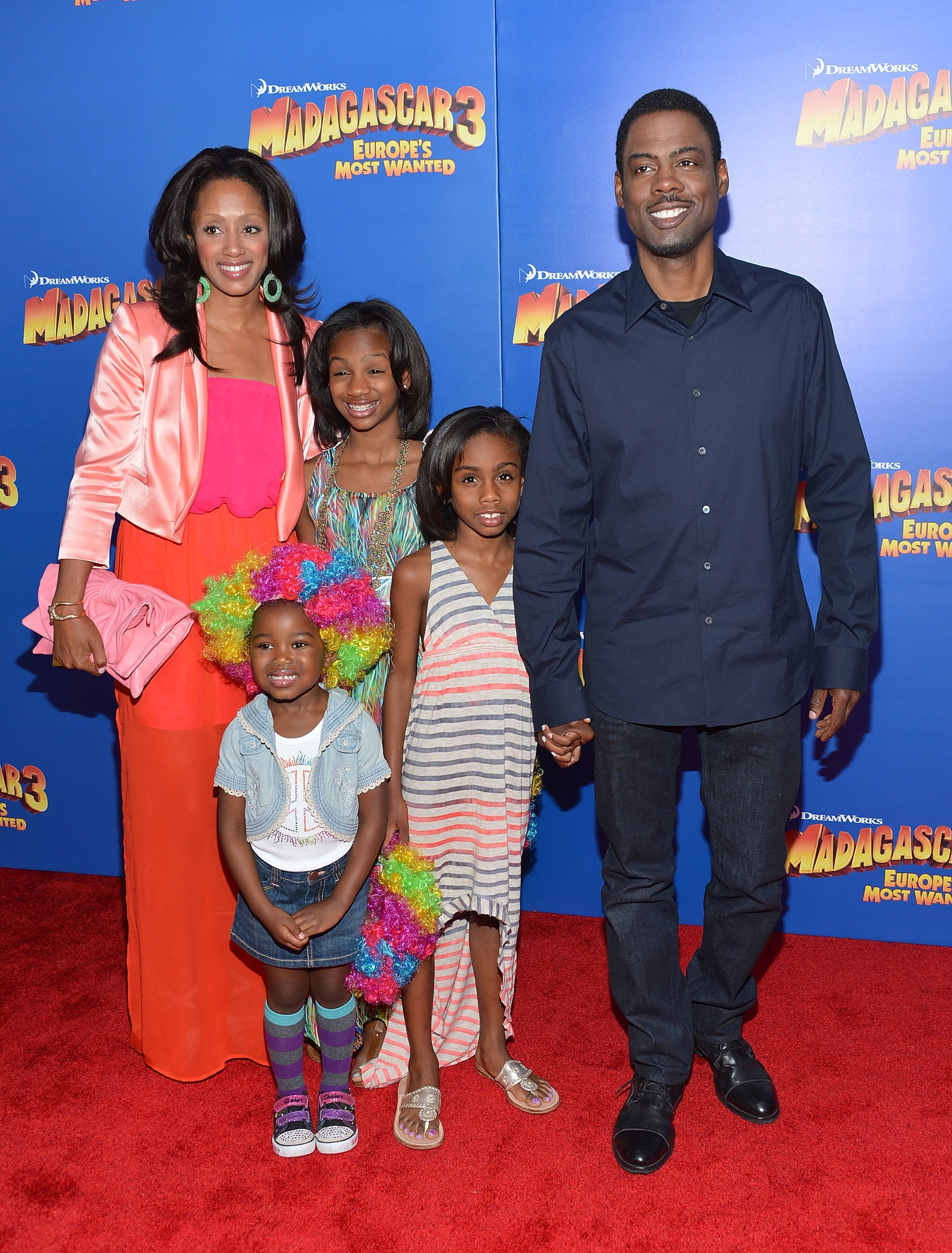 "Chris Rock, his wife Malaak Rock and daughters Lola Rock, Zahra, and Ntombi attend the premiere for ""Madagascar 3: Europe's Most Wanted"" on June 7, 2012, New York 