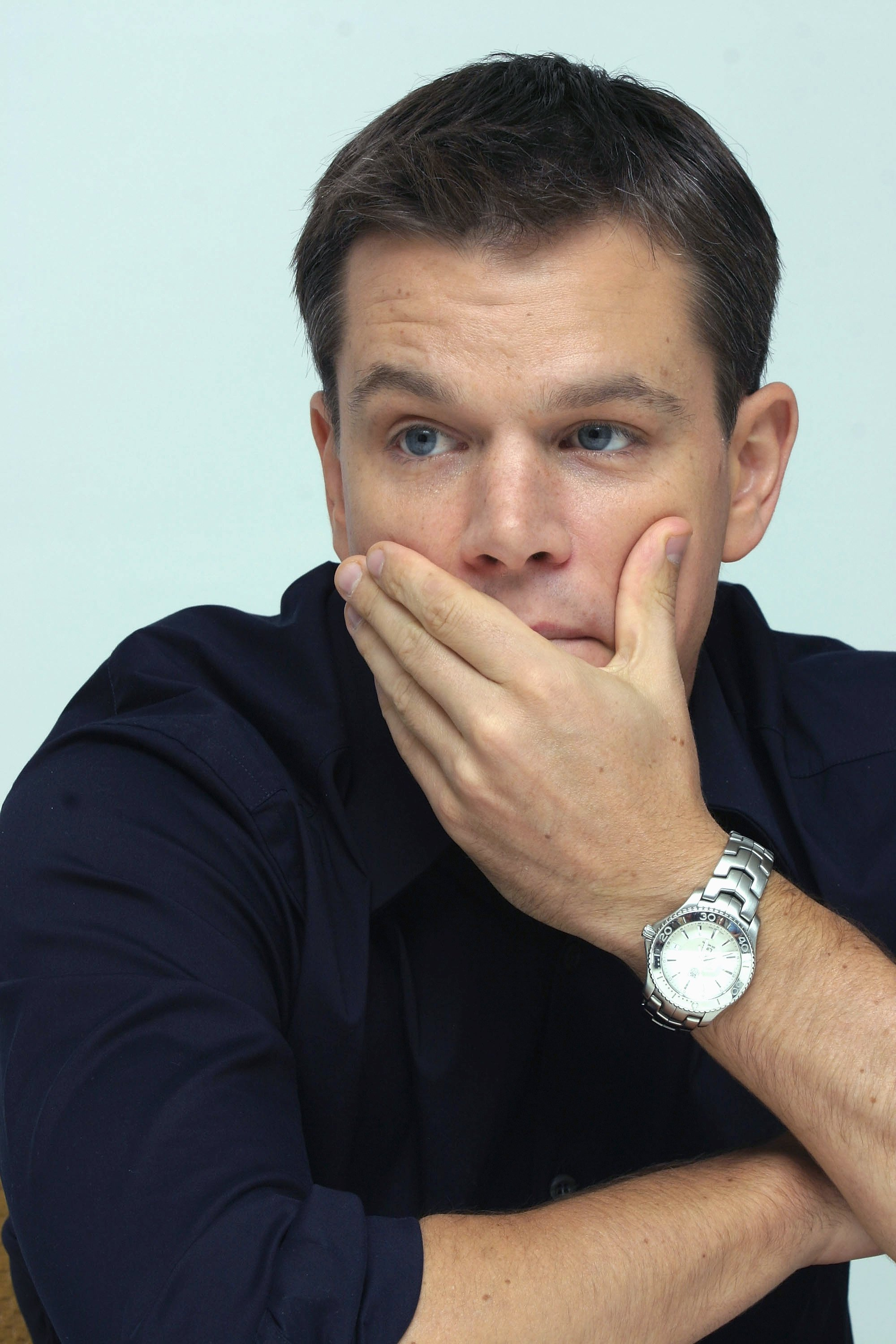 Matt Damon talks at the Four Seasons Hotel. | Source: Getty Images