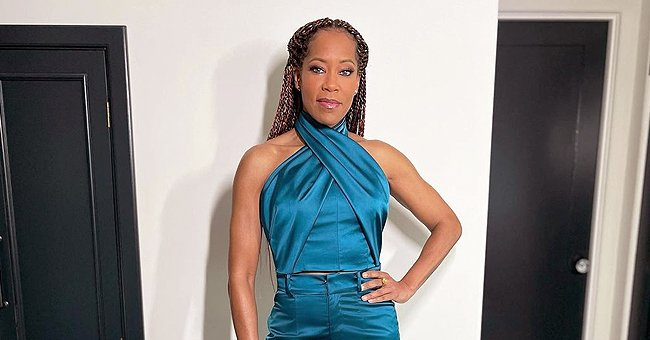 Regina King Rocks Braids as She Shows off Her Long Legs in Blue Pants & Chic Matching Top