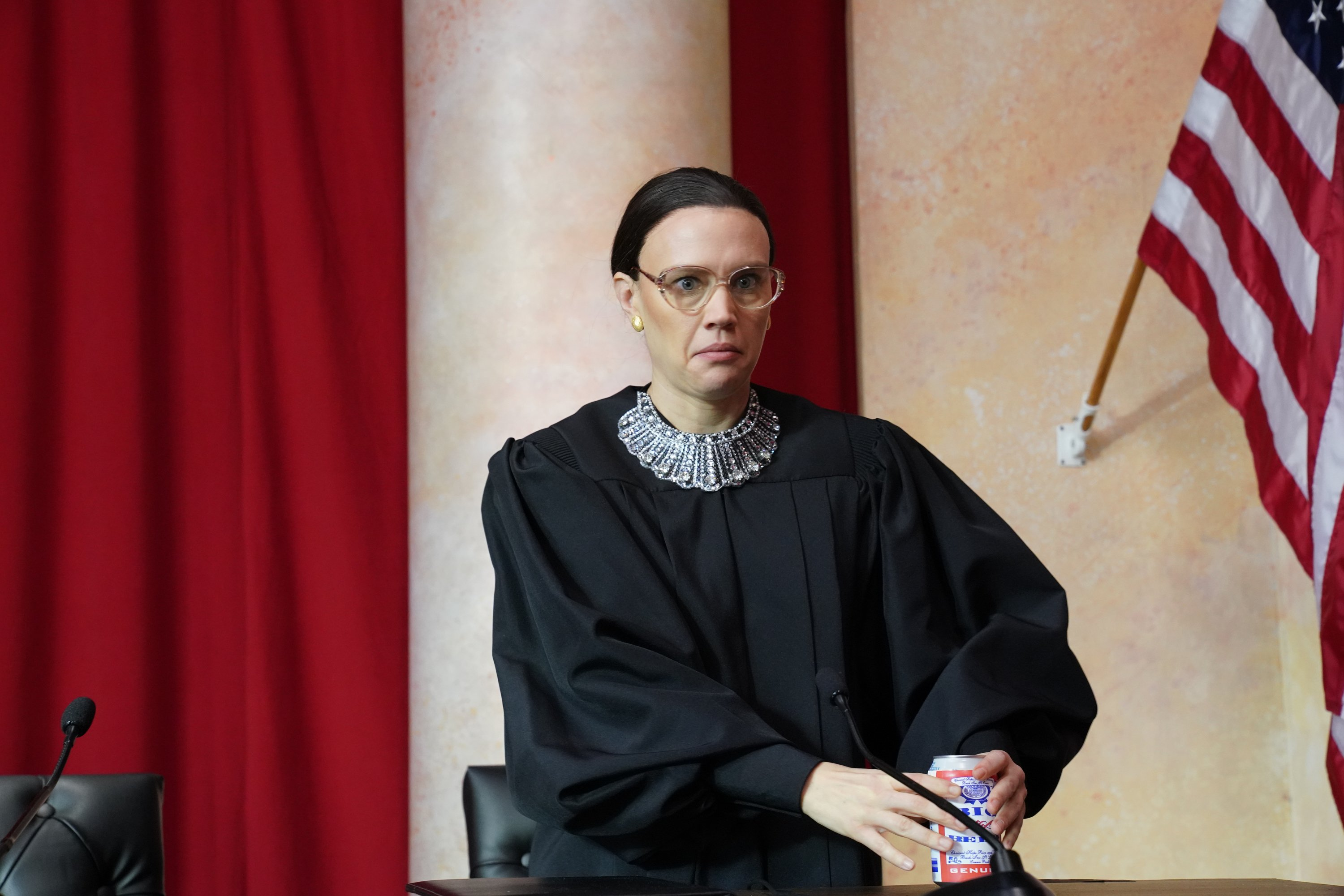 """Kate McKinnon playing the role of Justice Ruth Bader Ginsburg during the """"Courtroom Rap"""" sketch of """"Saturday Night Live"""" in 2018 