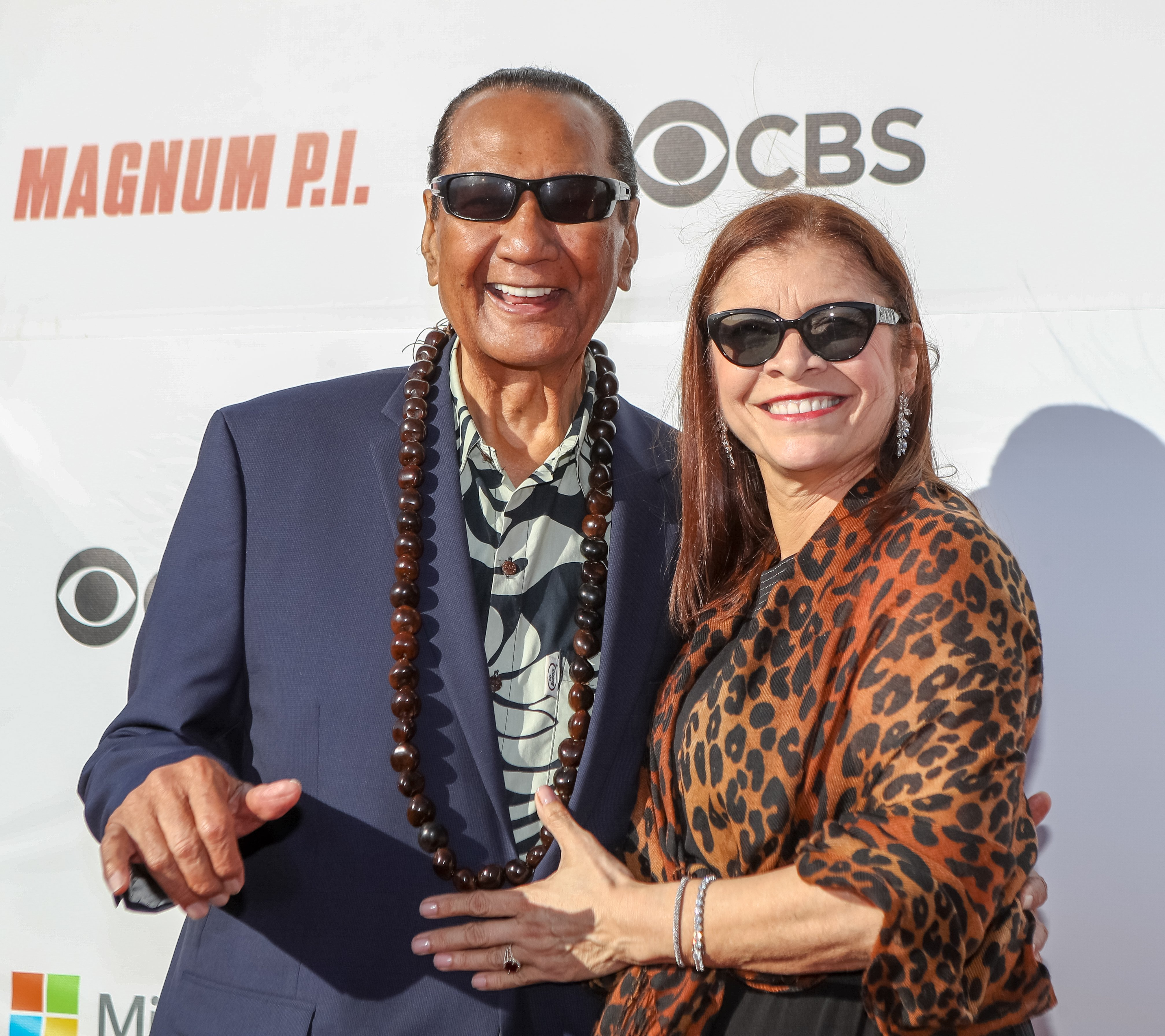 """Al Harrington and his wife, Rosa, at the Sunset on the Beach event celebrating the 50th anniversary of """"Hawaii Five-0"""" on September 16, 2018, in Waikiki, Hawaii 