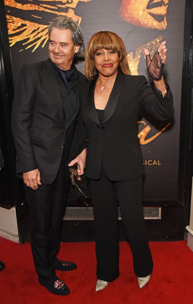 """Erwin Bach and Tina Turner arrive at the press night performance of """"Tina: The Tina Turner Musical"""" at the Aldwych Theatre on April 17, 2018 in London, England. 
