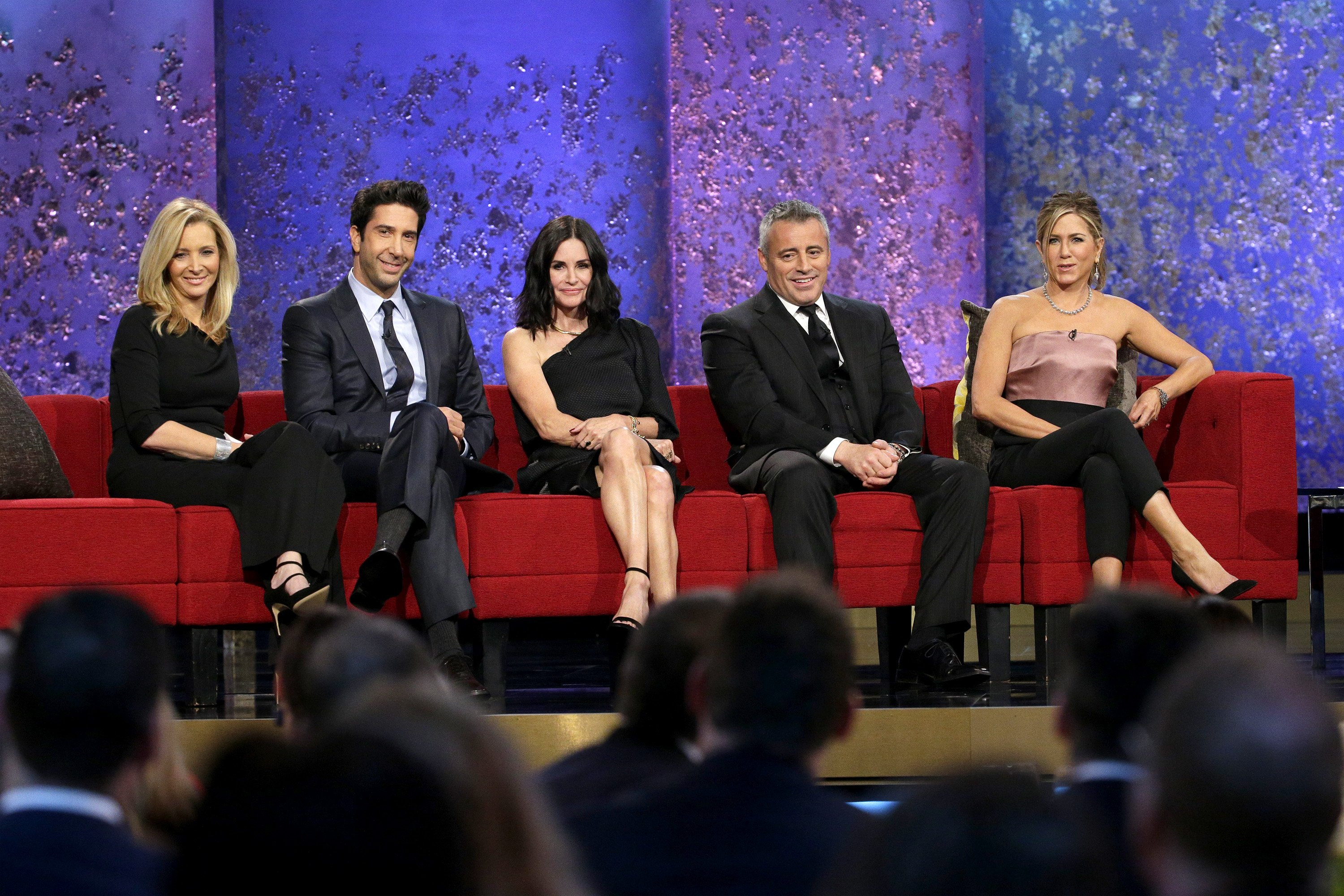 AN ALL-STAR TRIBUTE TO JAMES BURROWS -- Pictured: (l-r) Lisa Kudrow, David Schwimmer, Courteneey Cox, Matt LeBlanc, Jennifer Aniston.   Source: Getty Images