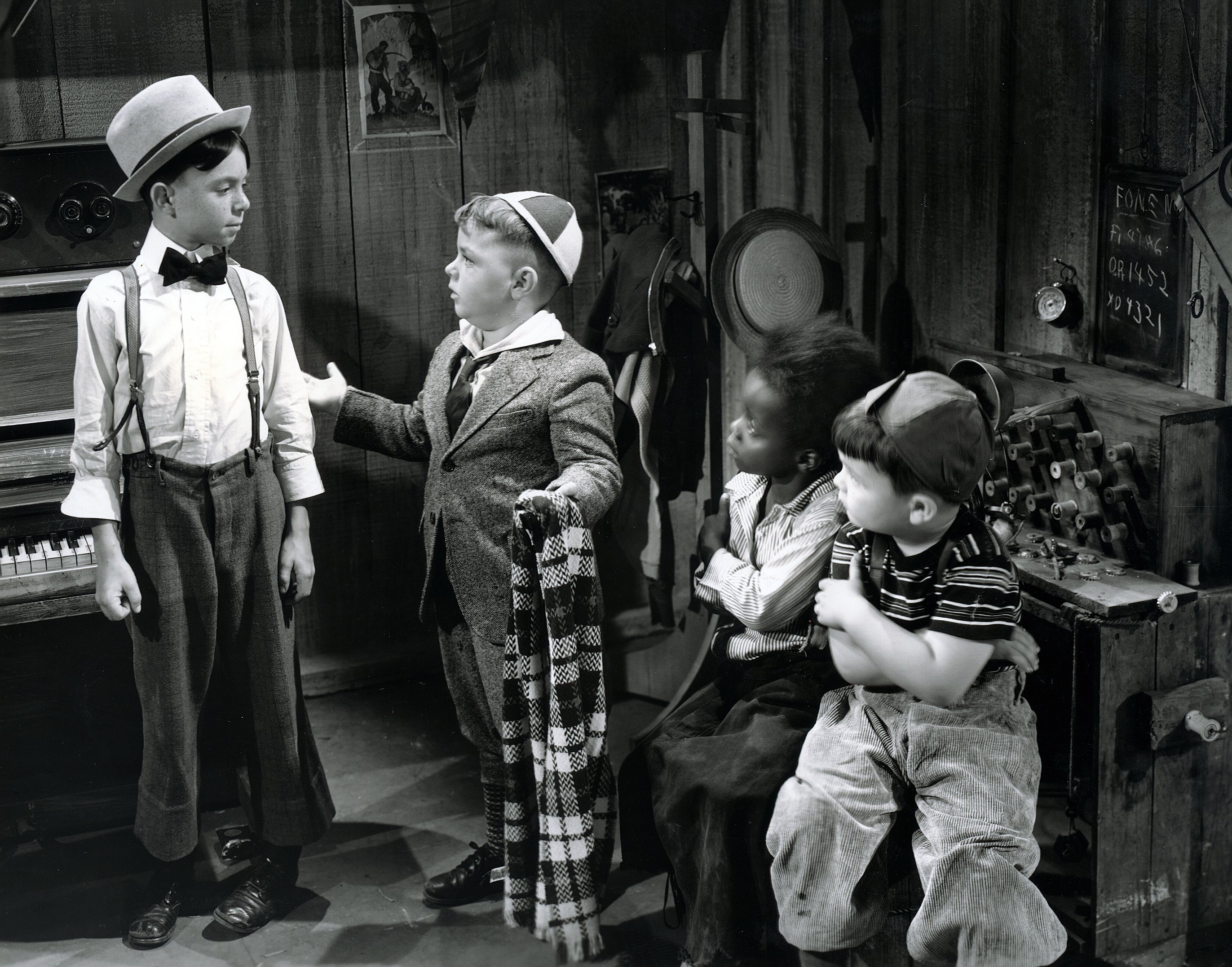 """Carl Switzer as Alfalfa, George McFarland as Spanky, Billie Thomas as Buckwheat and Eugene Lee as Porky in """"Framing Youth,"""" one of The Our Gang series, later to be know as The Little Rascals. Original release was September 11, 1937. 