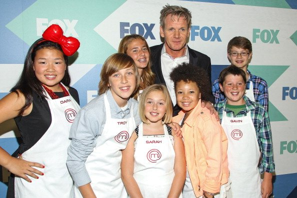 """Gordon Ramsay with cast members of """"MasterChef Junior"""" attend the Fox All-Star Party on August 1, 2013 in West Hollywood, California. 