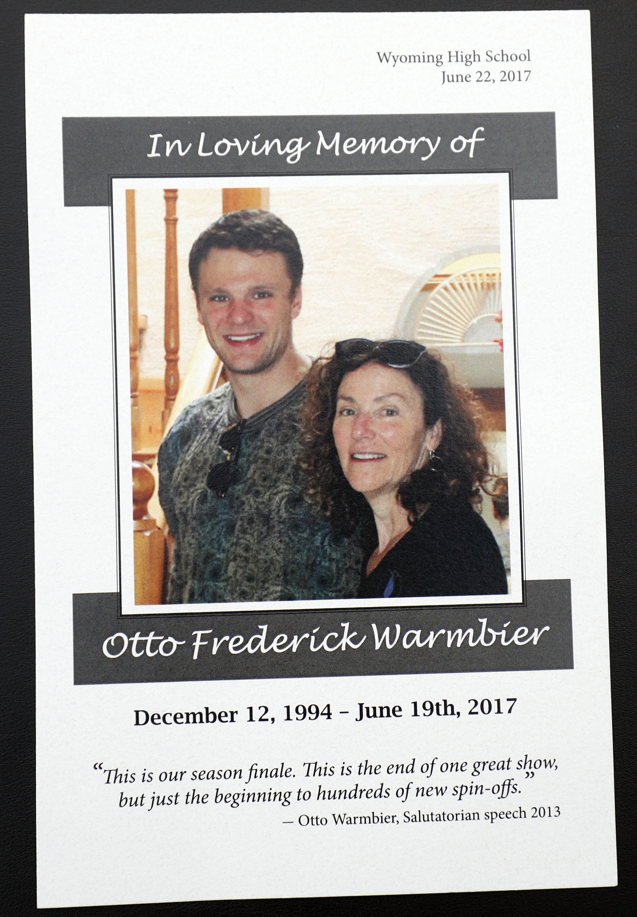 The memorial program for the funeral of Otto Warmbier | Source: Getty Image/ Global Images Ukraine