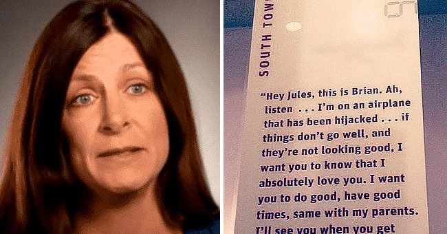Julie Sweeney Roth talking about her husband's death.   Source: twitter.com/StigAbell    youtube.com/911Memorial