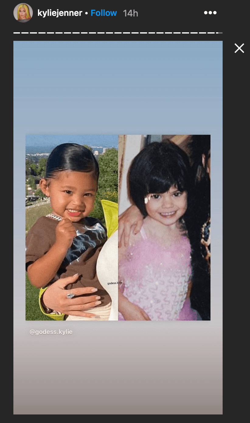 Kylie Jenner shared a side by side photo of herself and daughter Stormi Webster at the same age | Source: Instagram.com/kyliejenner