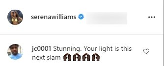 A fan's comment on Serena Williams' picture in a crop top and tight pants. | Source: Instagram/Serenawilliams