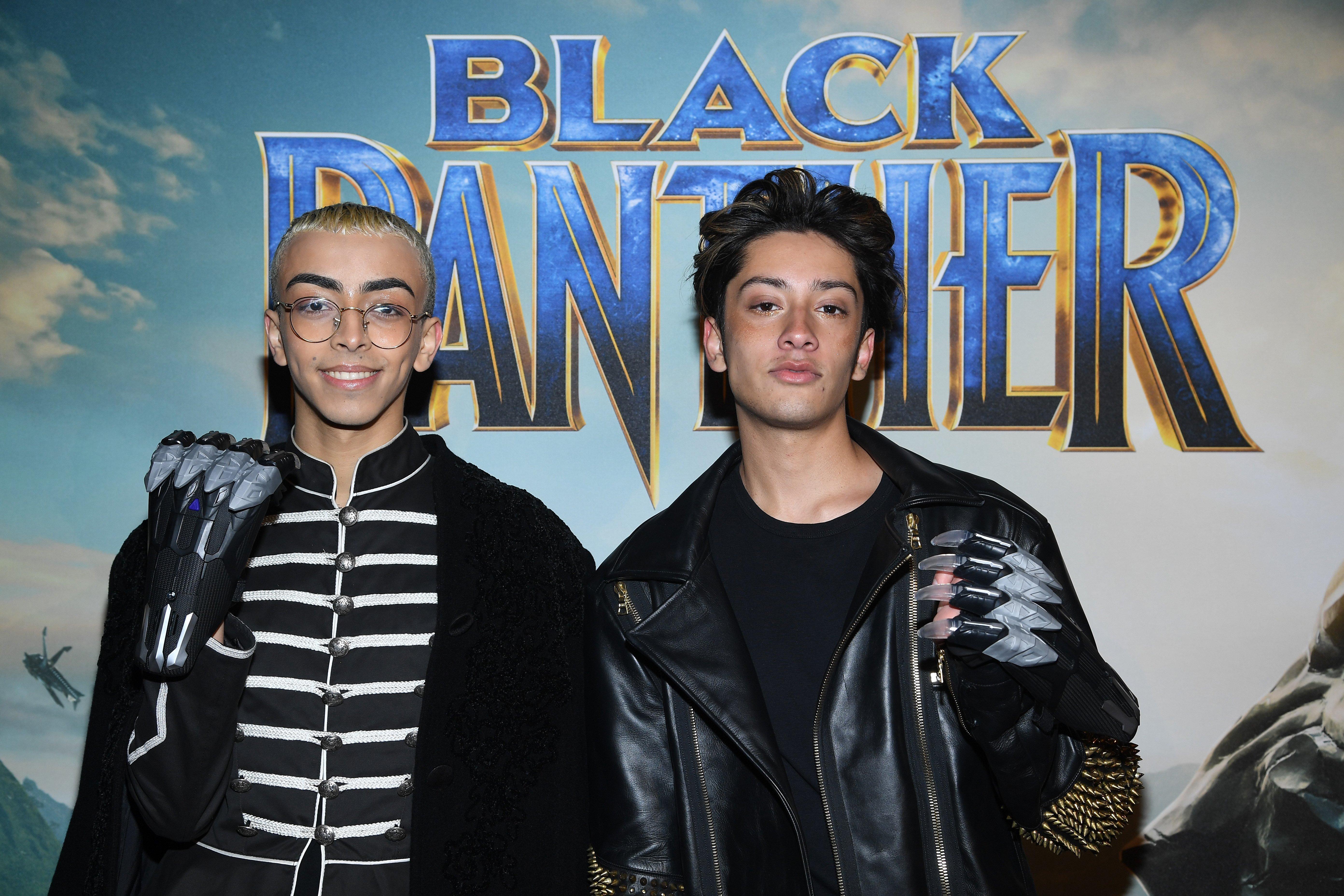 """Bilal Hassani à la première du film """"Black Panther"""" au Grand Rex, le 7 février 2018 / Source : Getty Images"""