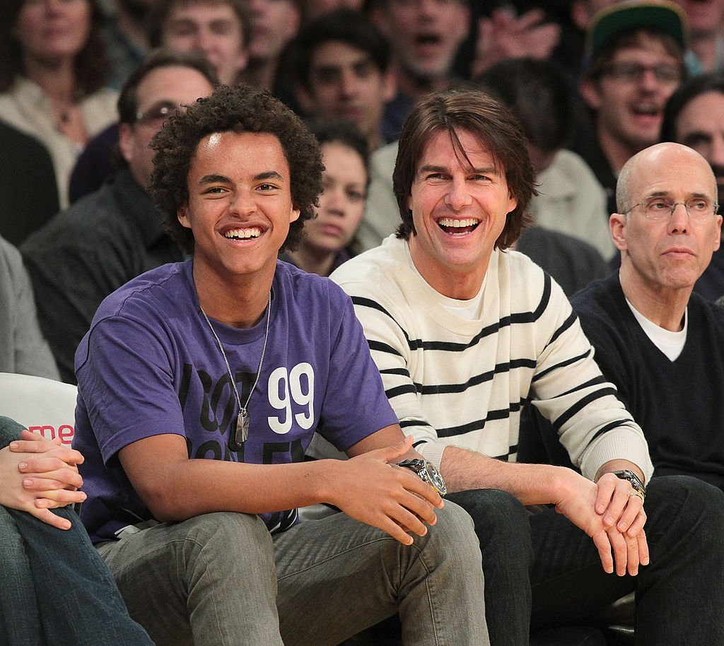 Connor Cruise, Tom Cruise and Jeffrey Katzenberg attend a game between the New Orleans Hornets and the Los Angeles Lakers at Staples Center  | Getty Images