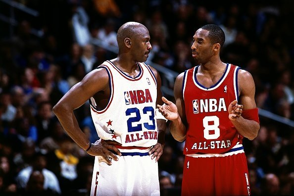 Kobe Bryant and Michael Jordan at the Phillips Arena on February 9, 2003 in Atlanta, Georgia. | Photo: Getty Images