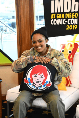 China McClain smiles at the IMDB Comic-Con 2019 at San Diego.   Source: Getty Images