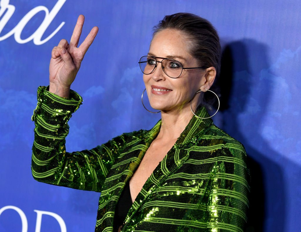 Sharon Stone raised up a peace sign as she arrived at the 2020 Hollywood For The Global Ocean Gala at Palazzo di Amore on February 06, 2020. | Source: Getty Images