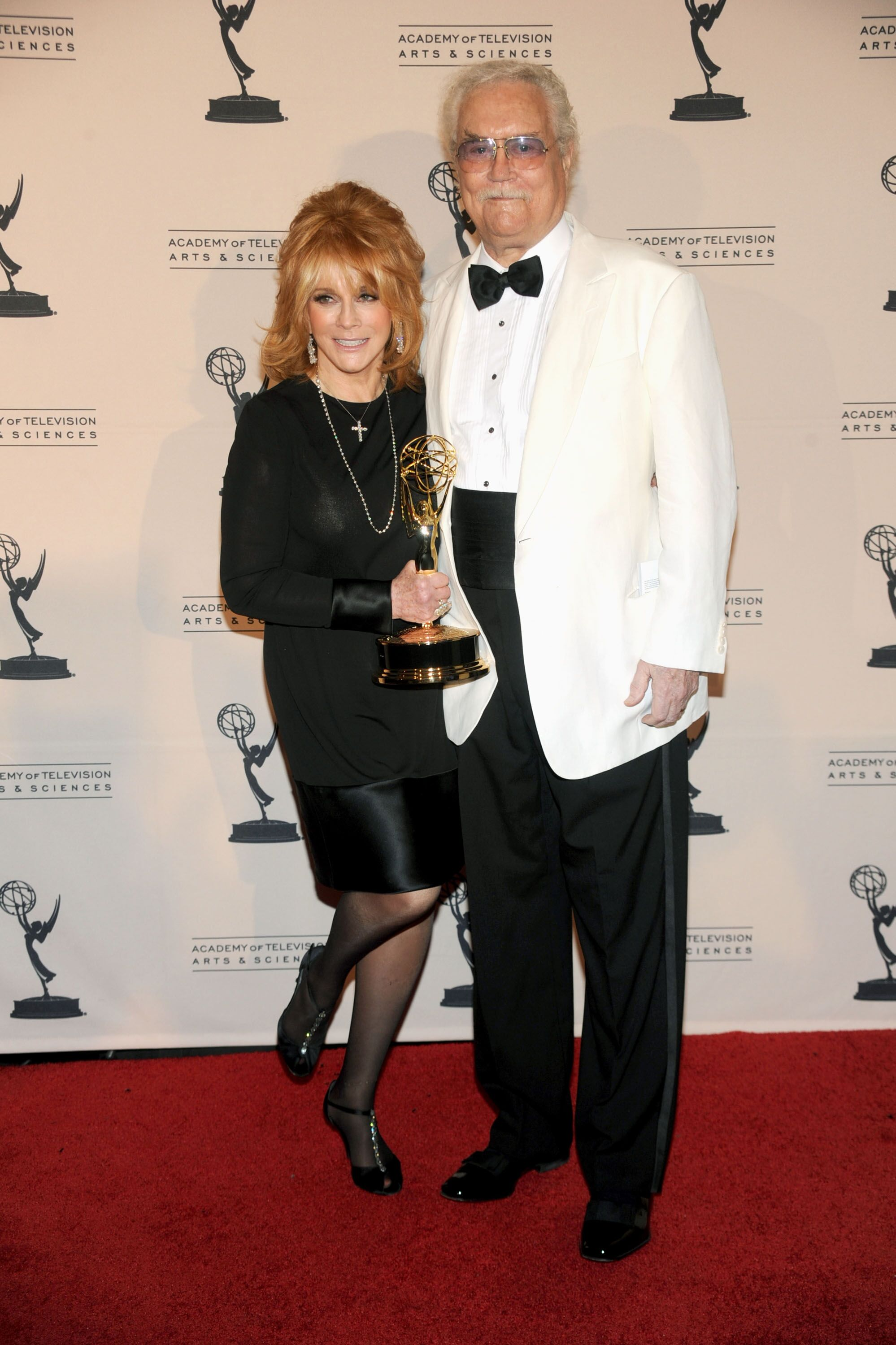 "Actor Roger Smith (R) and actress Ann-Margret poses with Outstanding Guest Actress In A Drama Series award for ""Law & Order: SVU"" in press room during 62nd Primetime Creative Arts Emmy Awardsat the Nokia Theatre L.A. Live on August 21, 2010 in Los Angeles, California. 
