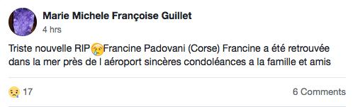 Capture d'écran de la publication sur Facebook qui a confirmé que le corps trouvé était celui de Francine Padovani. | Facebook/Fugues, Disparitions, Enlèvements