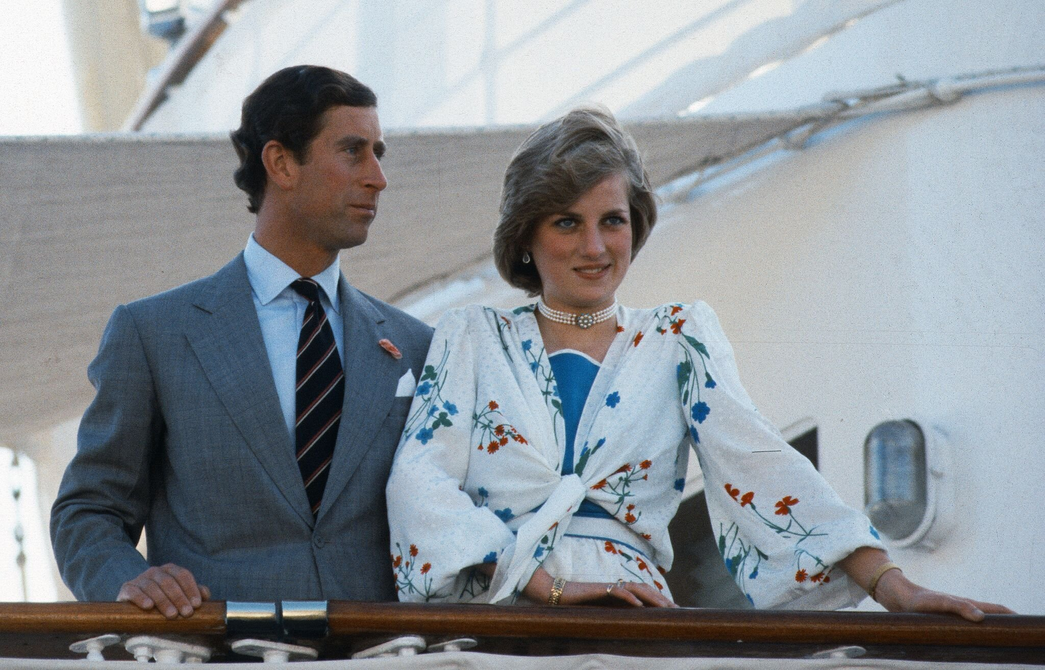 Diana, Princess of Wales and Prince Charles, Prince of Wales stand on the deck of the Royal Yacht Britannia at the start of their honeymoon  | Getty Images