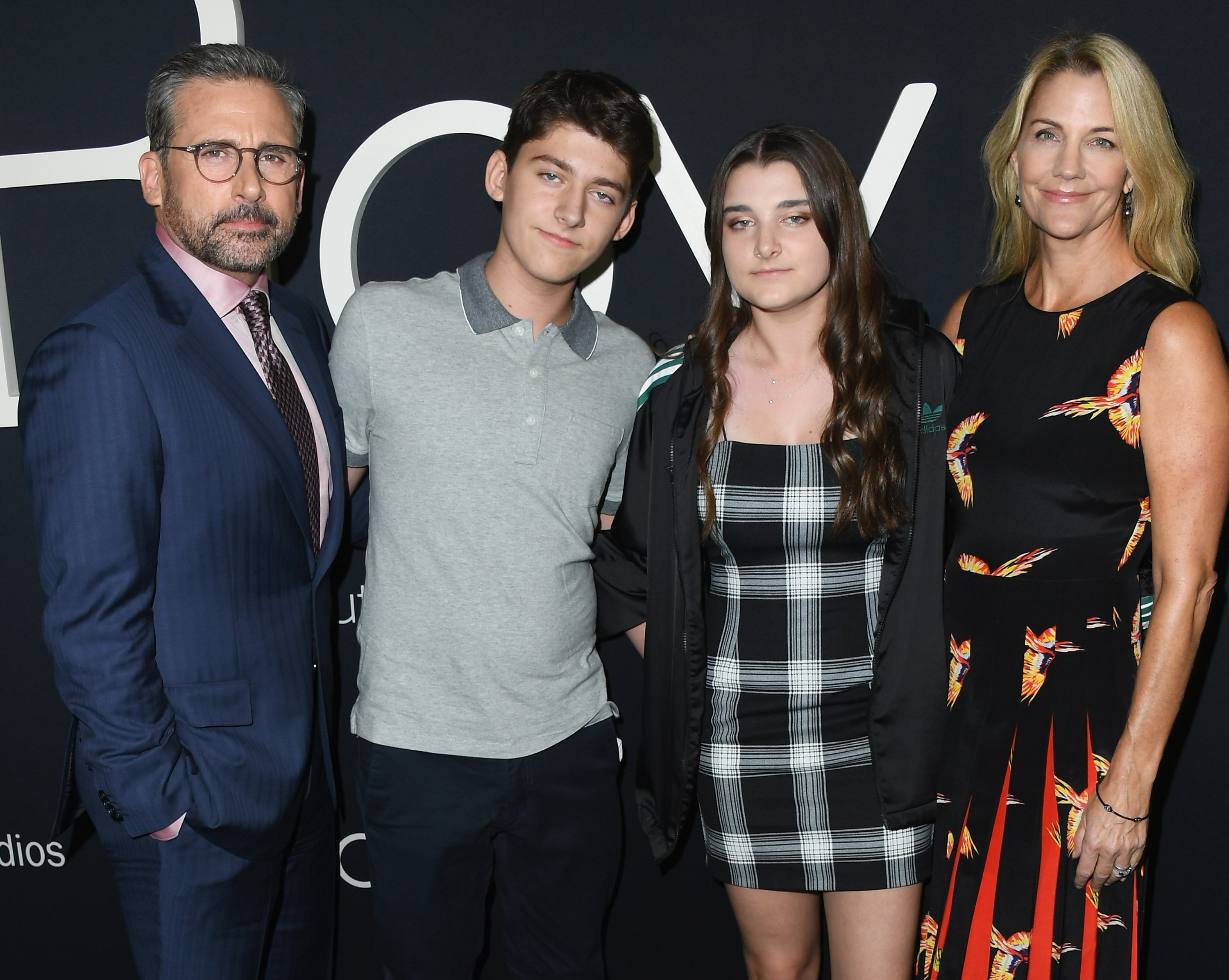 """Steve Carell, John Carell, Elisabeth Anne Carell and Nancy Carell at the premiere of """"Beautiful Boy"""" on October 8, 2018 in Beverly Hills, California. 