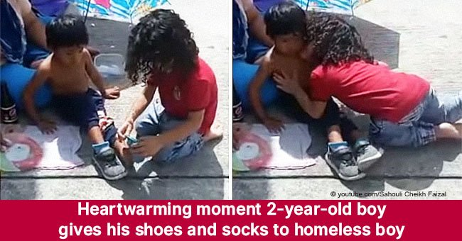 Heartwarming moment 2-year-old boy gives his shoes and socks to homeless boy