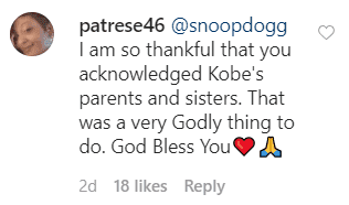 A fan's comment on Snoop Dogg's post. | Source: Instagram/snoopdogg